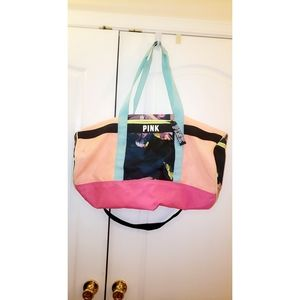 Victoria Secret Pink floral duffle bag
